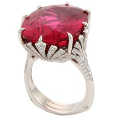 27.57 Carat Mozambique Pink Rubelite Diamond Fan Ring by John Landrum Bryant