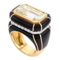 10.18 Carat Fancy Light Diamond Midnight Art Deco Ring by John Landrum Bryant