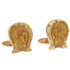 Carrera y Carrera Diamond Gold Horse Shoe Cufflinks