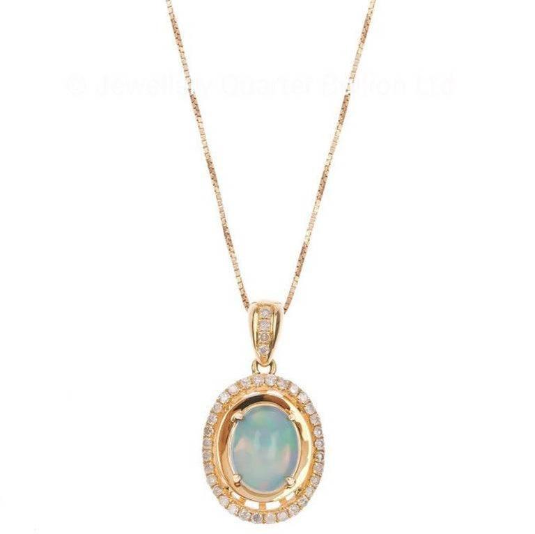 18 Carat Yellow Gold 0.84 Carat Opal and Diamond Pendant