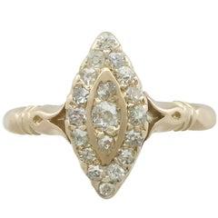 1910s Diamond and 14 Karat Yellow Gold Marquise Ring