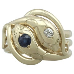 1930s Antique Sapphire and Diamond, 18 Karat Yellow Gold Snake Ring