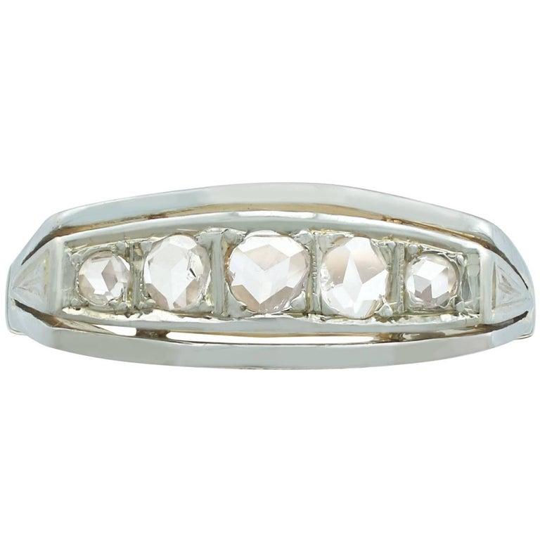 1920s Diamond 18 Karat Yellow Gold and White Gold Set Five-Stone Dress Ring