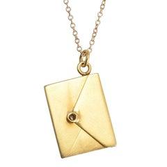 """Edwardian """"Darling: I Love You"""" Gold Envelope Pendant"""