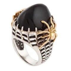 Oval Black Jade with Silver and Gold SPIDER Ring by John Landrum Bryant