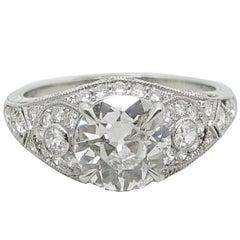 Old European Cut 1.61 Carat Diamond Platinum Ring