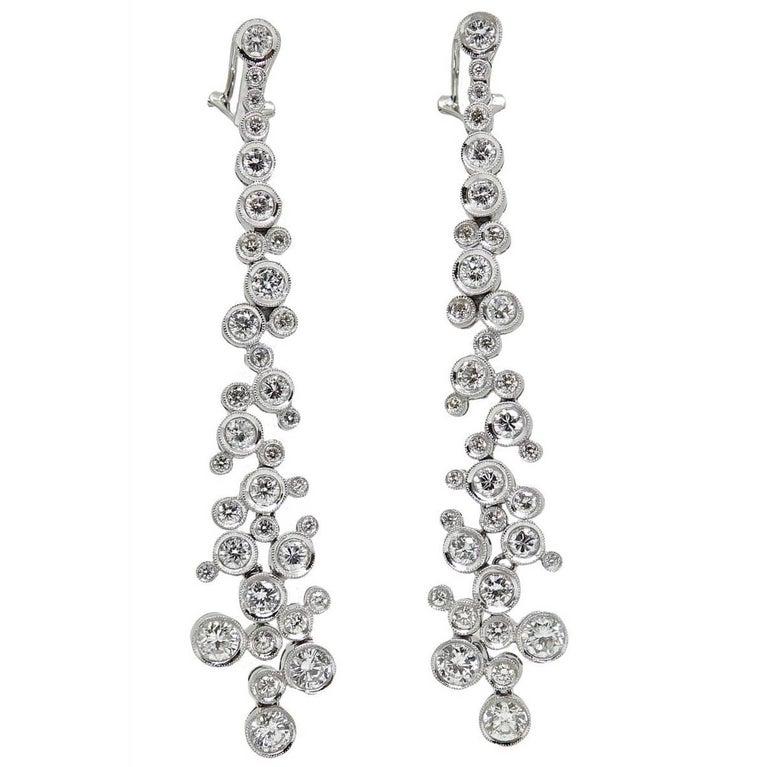 4.99 Carat Diamond Drop White Gold Earrings
