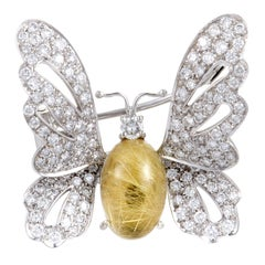 Chantecler Diamond and Rutilated Quartz White Gold Butterfly Brooch
