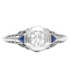 Art Deco Diamond and Sapphire Filigree Engagement Ring