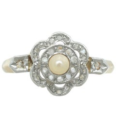 1910s Seed Pearl 0.18 Carat Diamond 18 Karat Yellow Gold Cluster Ring