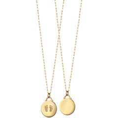 Monica Rich Kosann 18 Karat Yellow Gold Baby Feet Charm Necklace