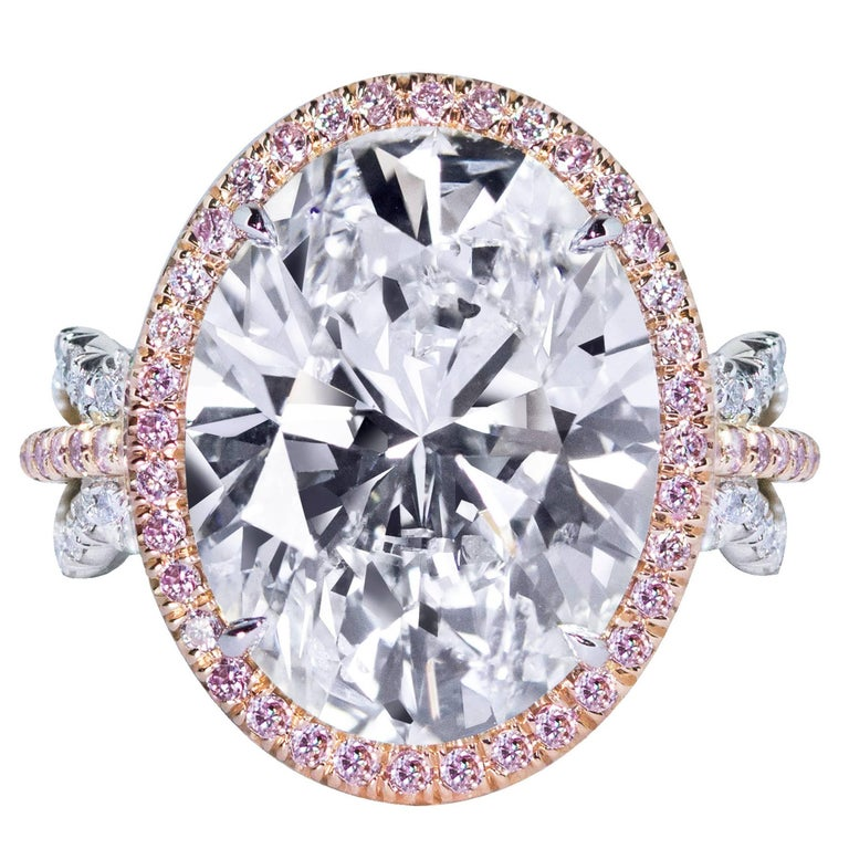 HRD Certified 10.03 Carat Oval Cut Diamond Halo Engagement Ring