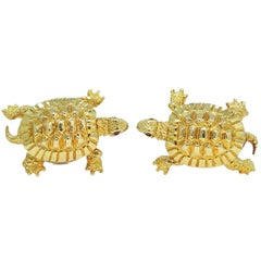 Turtle with Ruby Eyes Yellow Gold Cufflinks