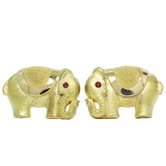 Elephant with Ruby Eyes Yellow Gold Cufflinks