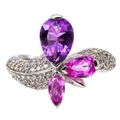 Pink Sapphire Amethyst and Diamond Ring in White Gold