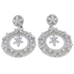Fine Quality Diamond Circle Earrings with Floral Motif 13.00 Carat 18 Karat Gold
