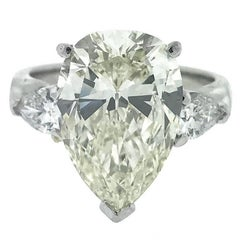 GIA 6.22 Carat Centre Pear Brilliant Diamond Engagement Ring in Platinum