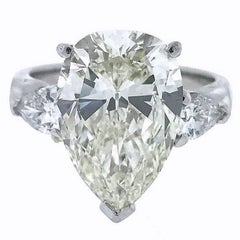 GIA 6.22 Carat Centre Pear Brilliant Diamond Engagement Ring in Platinum