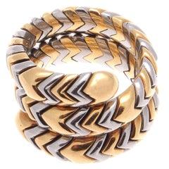 Bulgari Serpenti Tubogas Gold Steel Ring