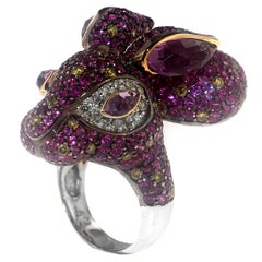 Zorab Creation Amethyst Pink Sapphire Fancy and Yellow Diamond Gold Bunny Ring