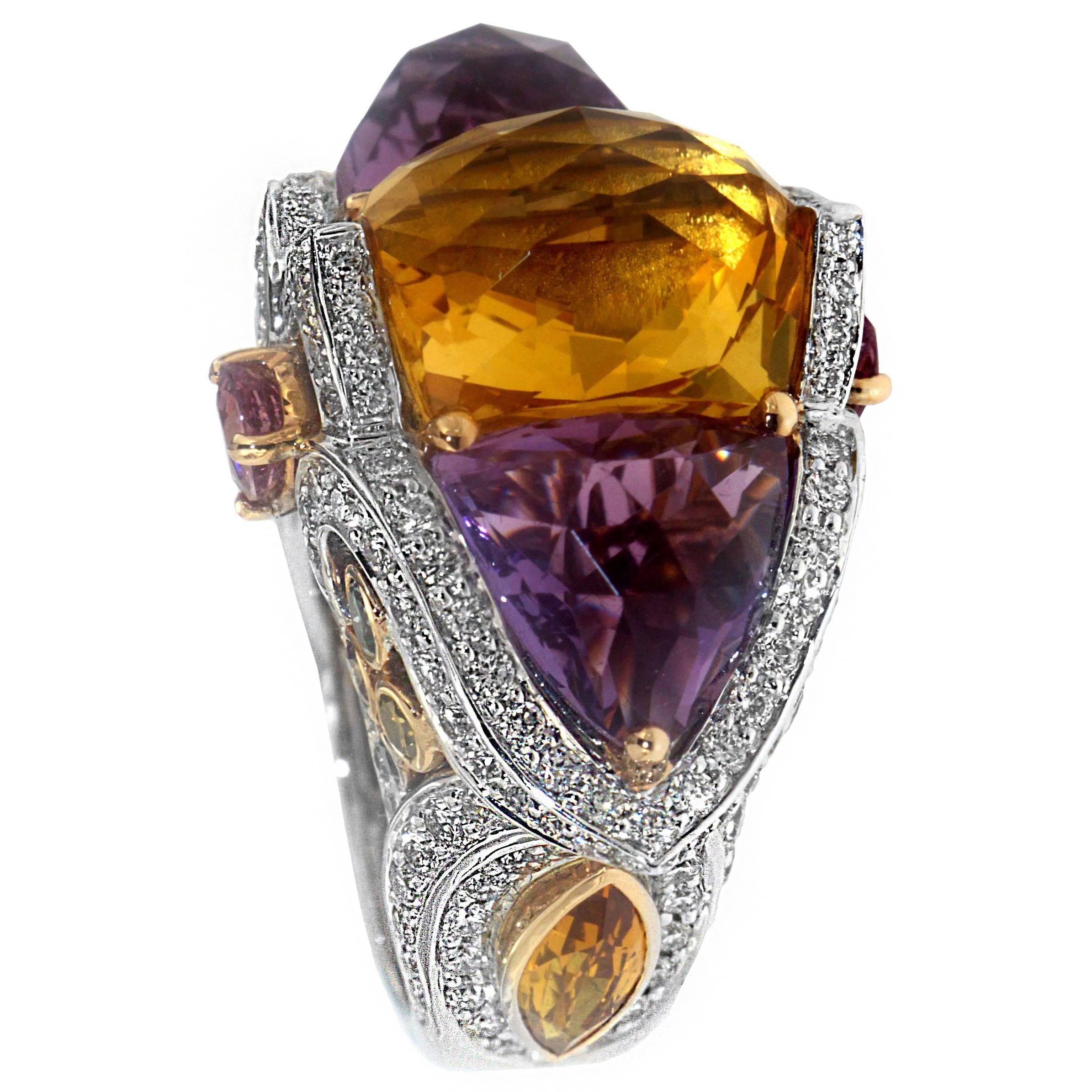 Zorab Creation Amethyst and Citrine Quartz Colored Diamond Sapphire Ring
