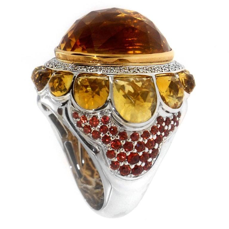 Zorab Creation 32.49 Citrine Quartz Red Sapphire Diamond Cocktail Bombe Ring