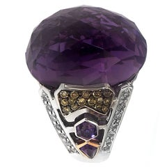Zorab Creation 36 Carat Amethyst Quartz Yellow White Diamond Gold Cocktail Ring