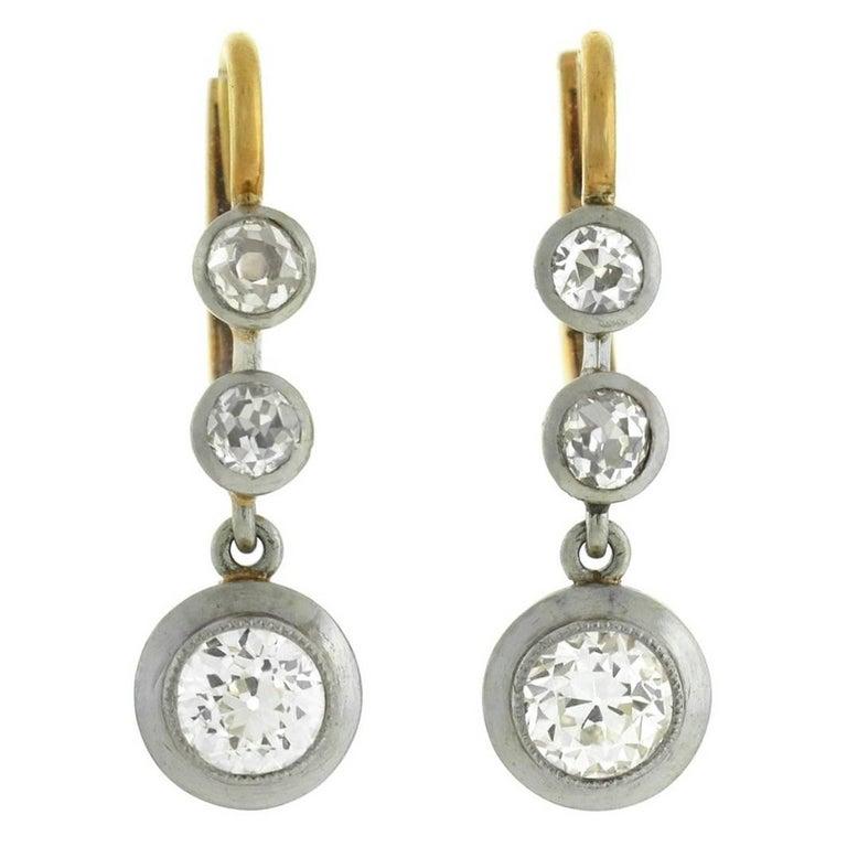 Edwardian Old Mine Cut Diamond Drop Earrings