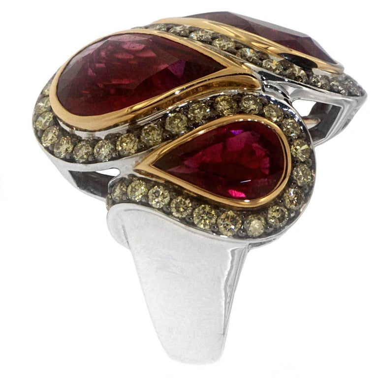 Zorab Creation Ruby with Yellow Diamonds Gold and Palladium Cocktail Ring