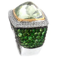 Zorab Creation Green Amethyst Quartz Tsavorite Garnet and Diamonds Cocktail Ring