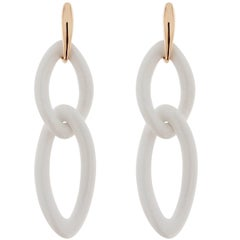 Jona White Agate Gold Pendant Earrings