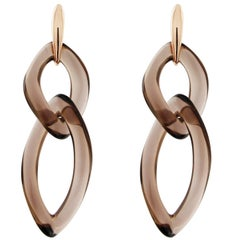 Jona Smoky Quartz 18 Karat Rose Gold Pendant Earrings