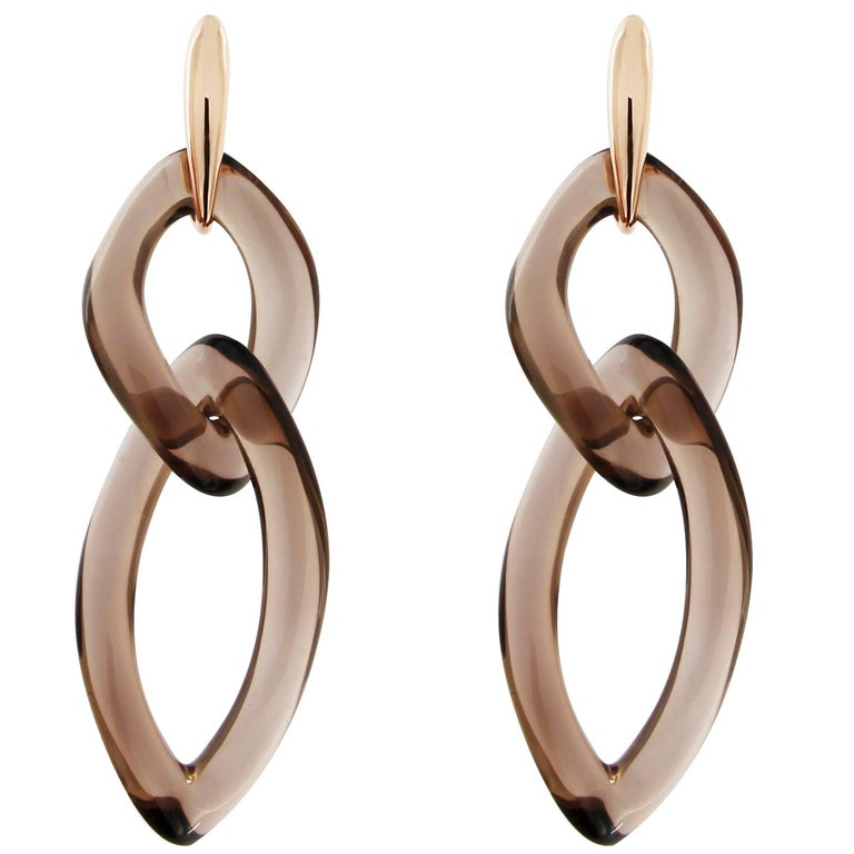 Jona Smoky Quartz 18k Rose Gold Pendant Earrings