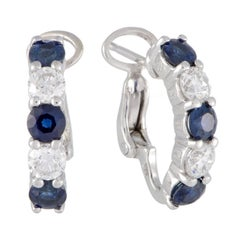 Diamond and Sapphire White Gold Huggie Earrings