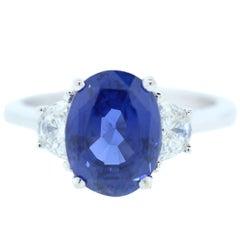4.00 Carat AGL Certified Ceylon Blue Sapphire Diamond Ring