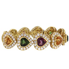 Multi-Color Heart Shape Tourmaline Diamond Gold Bracelet