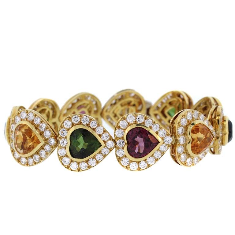 Multi-Color Heart Shape Tourmaline Diamond Gold Bracelet