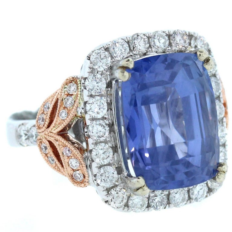 10.67 Carat AGL Certified Ceylon Blue Sapphire Diamond Gold Ring