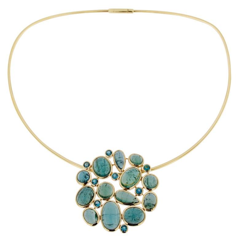 Jona Green Tourmaline 18K Yellow Gold Choker Pendant Necklace