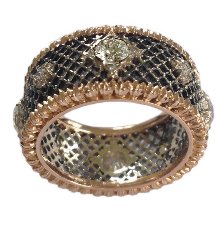Dalben Diamond Gold Openwork Band Ring
