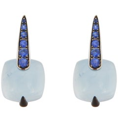 Jona Aquamarine Blue Sapphire 18 Karat White Gold Earrings