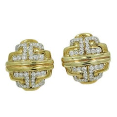 2.40 Carat Diamond Button Yellow Gold Earrings