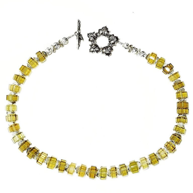 Choker Necklace of Fancy Cut Citrine Rondels with Sterling Silver Clasp For Sale