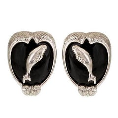 Onyx Platinum Arctic Sea Earrings by John Landrum Bryant