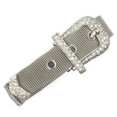 1960s Diamond 18 Karat White Gold Flexible Mesh Buckle Bracelet