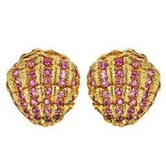 2.3 Carat of Sapphires 18 Karat Clam Shell Earrings by John Landrum Bryant
