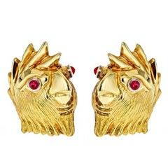 Ruby Eyes 18 Karat Yellow Gold Cockatoo Earrings by John Landrum Bryant