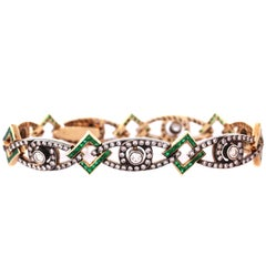 Antique Emerald Diamond Gold Bracelet