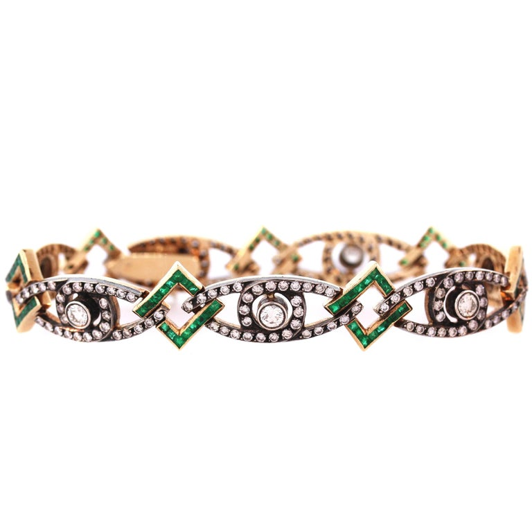 Antique Emerald Diamond Gold Bracelet
