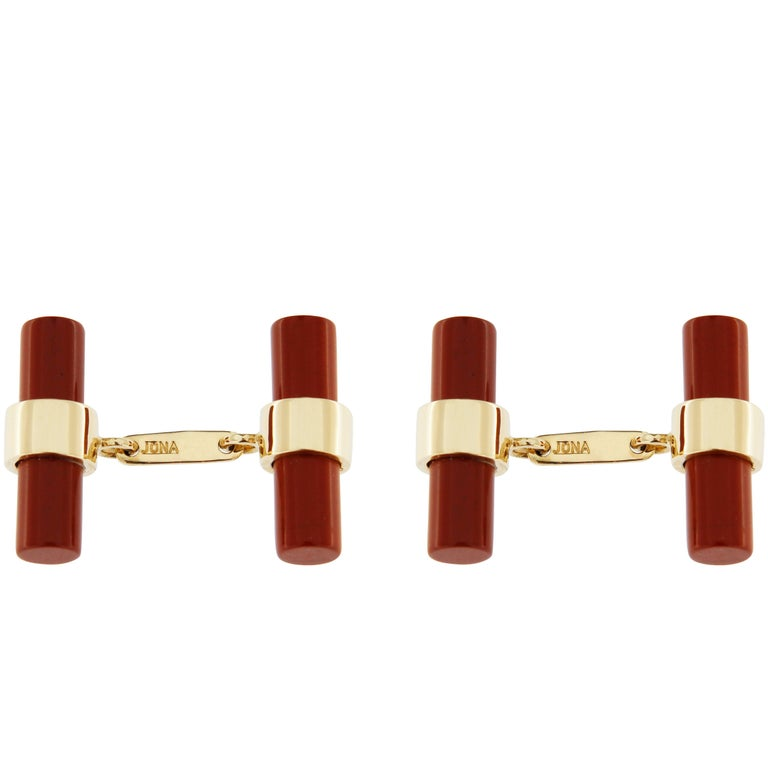 Jona 18k Yellow Gold Red Jasper Bar Cufflinks